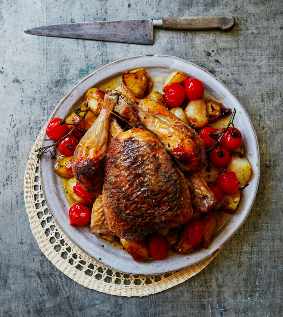 Thomasina Miers' recipe for roast chicken with black olive garlic butter